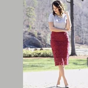 J. Crew Collection Lace Pencil Skirt Burgundy $178